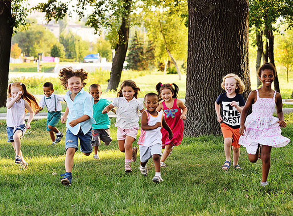 Kids playing at summer school
